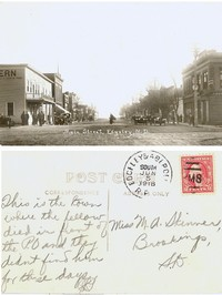 "This Edgeley Postcard was postmarked June 5, 1918 and addressed to a Miss M.A. Skinner of Brookings SD.  It reads ""This is the town where the fellow died in front of the P.O. (Post Office) and they didn't find him for three days.""  Those were the days?"