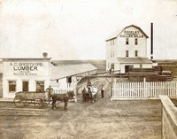 THe Edgeley Roller Mill was built in 1904 and later burned.  They shipped flour to England and all over the USA. The A.C. Brodtkorb Lumber building is also shown.
